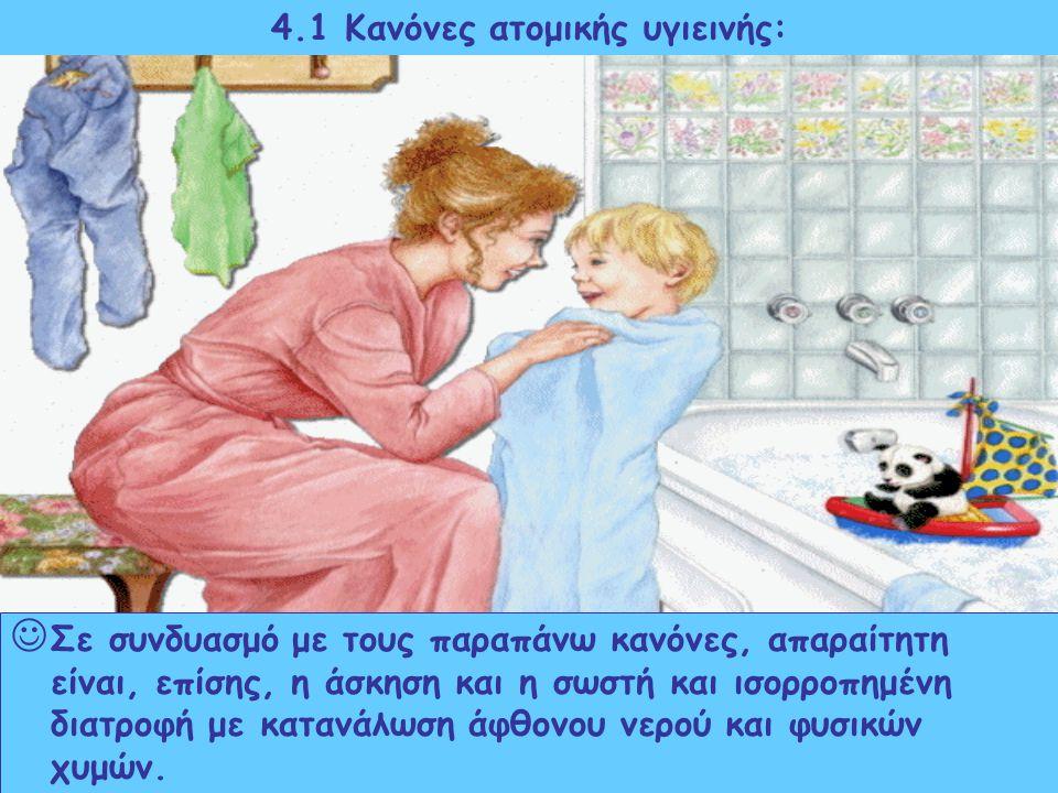 4.1 Κανόνες ατομικής υγιεινής: τακτικό πλύσιμο χεριών και περιποίηση νυχιών τακτικό βούρτσισμα δοντιών τακτικό πλύσιμο προσώπου καθαρές κάλτσες, άνετα