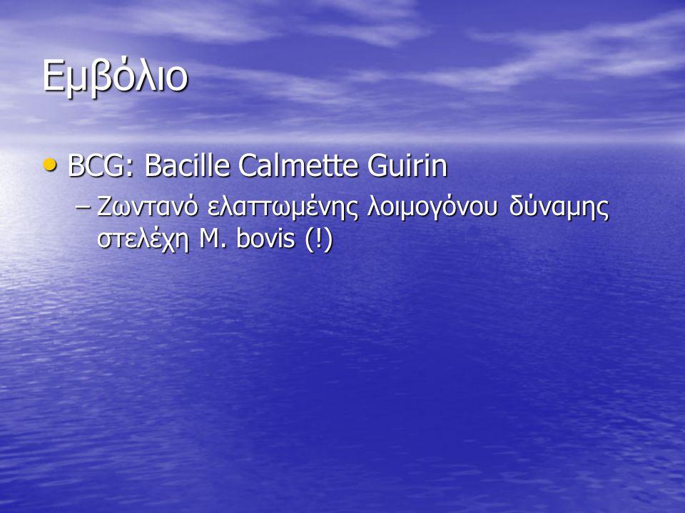 Εμβόλιο BCG: Bacille Calmette Guirin BCG: Bacille Calmette Guirin –Ζωντανό ελαττωμένης λοιμογόνου δύναμης στελέχη M.