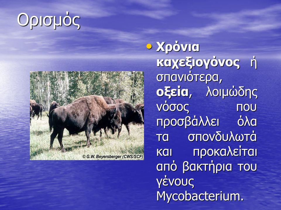 Ορισμός Χρόνια καχεξιογόνος ή σπανιότερα, οξεία, λοιμώδης νόσος που προσβάλλει όλα τα σπονδυλωτά και προκαλείται από βακτήρια του γένους Mycobacterium.