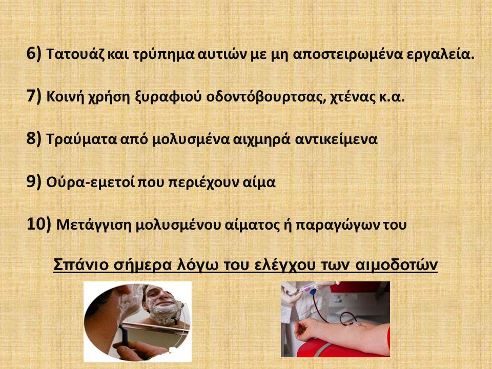 ΔΕΝ ΜΕΤΑΔΙΔΕΤΑΙ  Κοινή χρήση μαχαιροπίρουνων  Αγκάλιασμα  Φιλί  Κράτημα χεριού, χειραψία  Βήχα  Φτάρνισμα