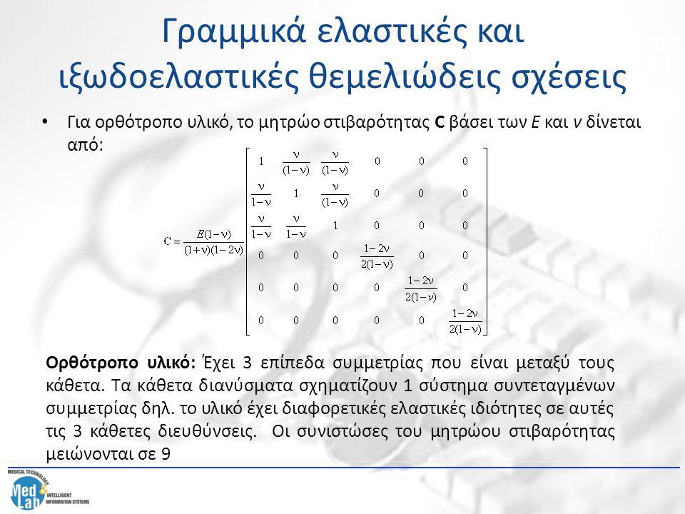 Γραμμικά ελαστικές και ιξωδοελαστικές θεμελιώδεις σχέσεις Για ορθότροπο υλικό, το μητρώο στιβαρότητας C βάσει των Ε και ν δίνεται από: Ορθότροπο υλικό