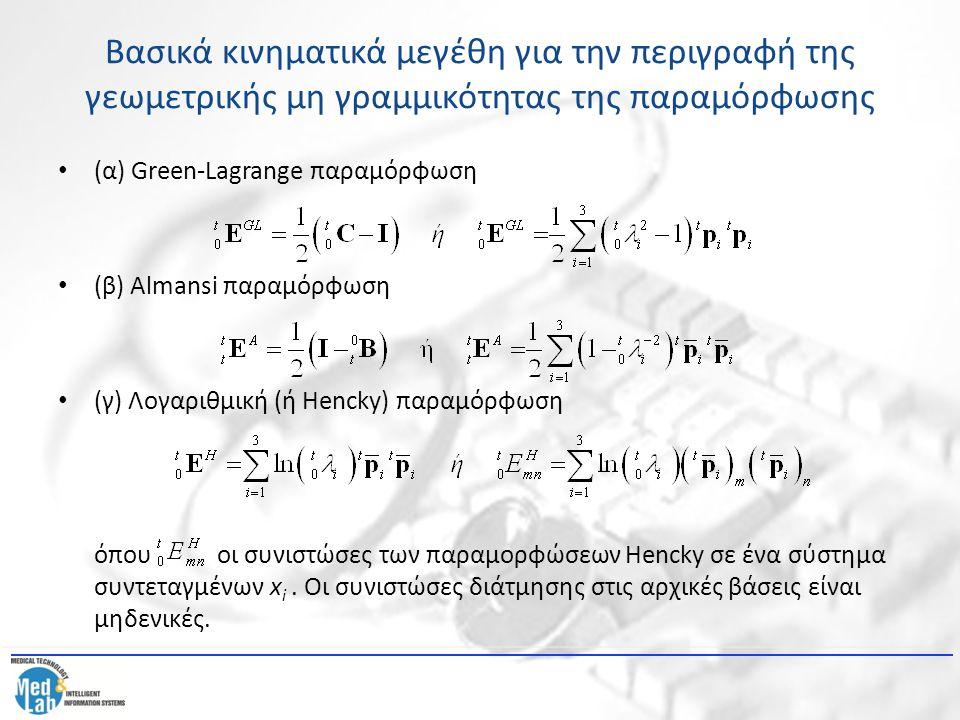 Βασικά κινηματικά μεγέθη για την περιγραφή της γεωμετρικής μη γραμμικότητας της παραμόρφωσης (α) Green-Lagrange παραμόρφωση (β) Almansi παραμόρφωση (γ