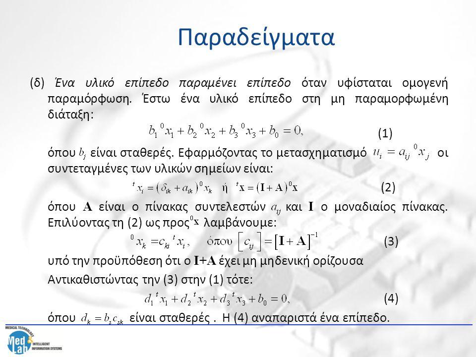 (δ) Ένα υλικό επίπεδο παραμένει επίπεδο όταν υφίσταται ομογενή παραμόρφωση. Έστω ένα υλικό επίπεδο στη μη παραμορφωμένη διάταξη: (1) όπου είναι σταθερ