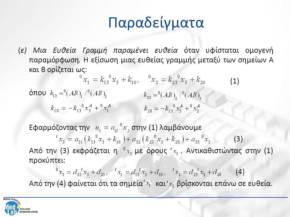 (ε) Μια Ευθεία Γραμμή παραμένει ευθεία όταν υφίσταται ομογενή παραμόρφωση. Η εξίσωση μιας ευθείας γραμμής μεταξύ των σημείων Α και Β ορίζεται ως: (1)