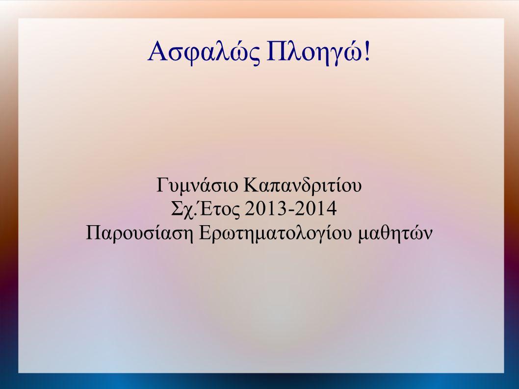Ασφαλώς Πλοηγώ! Γυμνάσιο Καπανδριτίου Σχ.Έτος 2013-2014 ᅠ Παρουσίαση Ερωτηματολογίου μαθητών