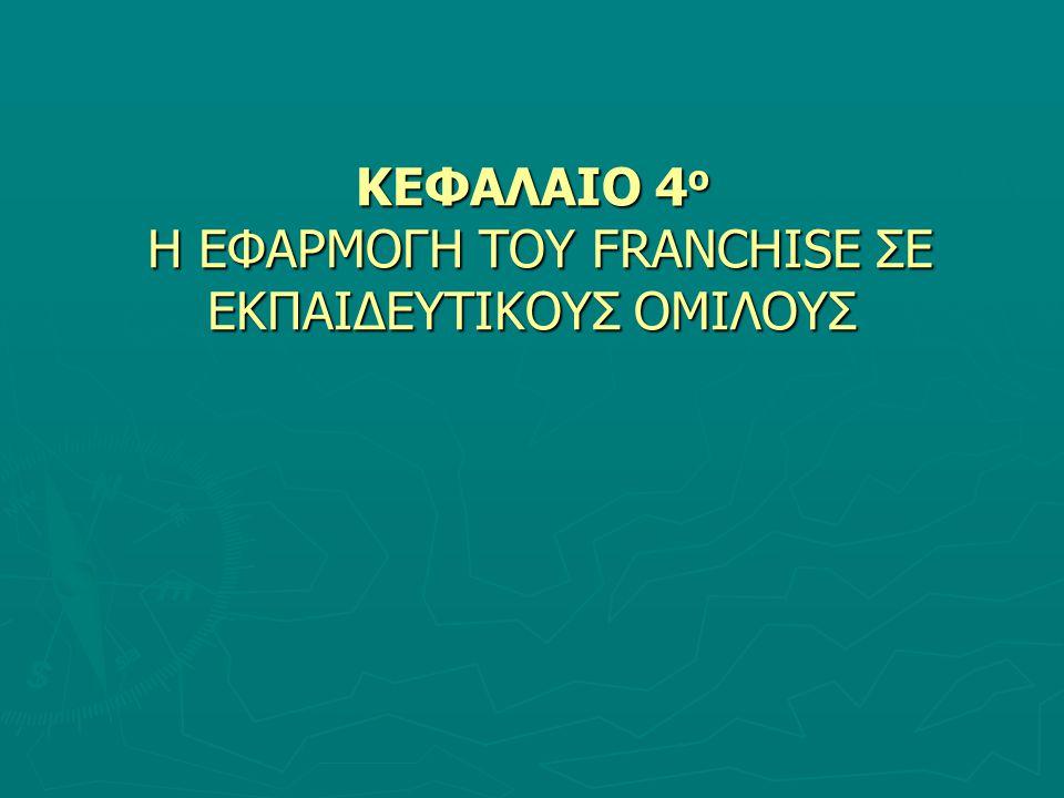 ΚΕΦΑΛΑΙΟ 4 ο Η ΕΦΑΡΜΟΓΗ ΤΟΥ FRANCHISE ΣΕ ΕΚΠΑΙΔΕΥΤΙΚΟΥΣ ΟΜΙΛΟΥΣ