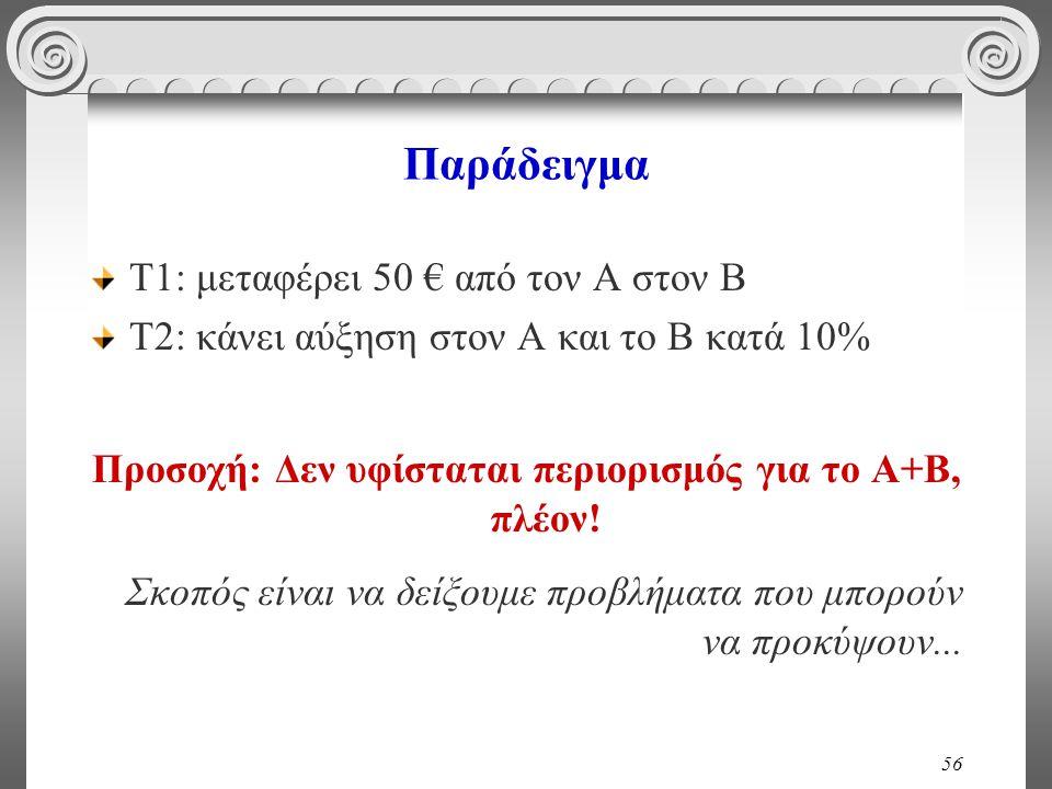 56 Παράδειγμα Τ1: μεταφέρει 50 € από τον Α στον Β Τ2: κάνει αύξηση στον Α και το Β κατά 10% Προσοχή: Δεν υφίσταται περιορισμός για το Α+Β, πλέον! Σκοπ