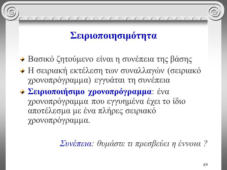 69 Σειριοποιησιμότητα Βασικό ζητούμενο είναι η συνέπεια της βάσης Η σειριακή εκτέλεση των συναλλαγών (σειριακό χρονοπρόγραμμα) εγγυάται τη συνέπεια Σε