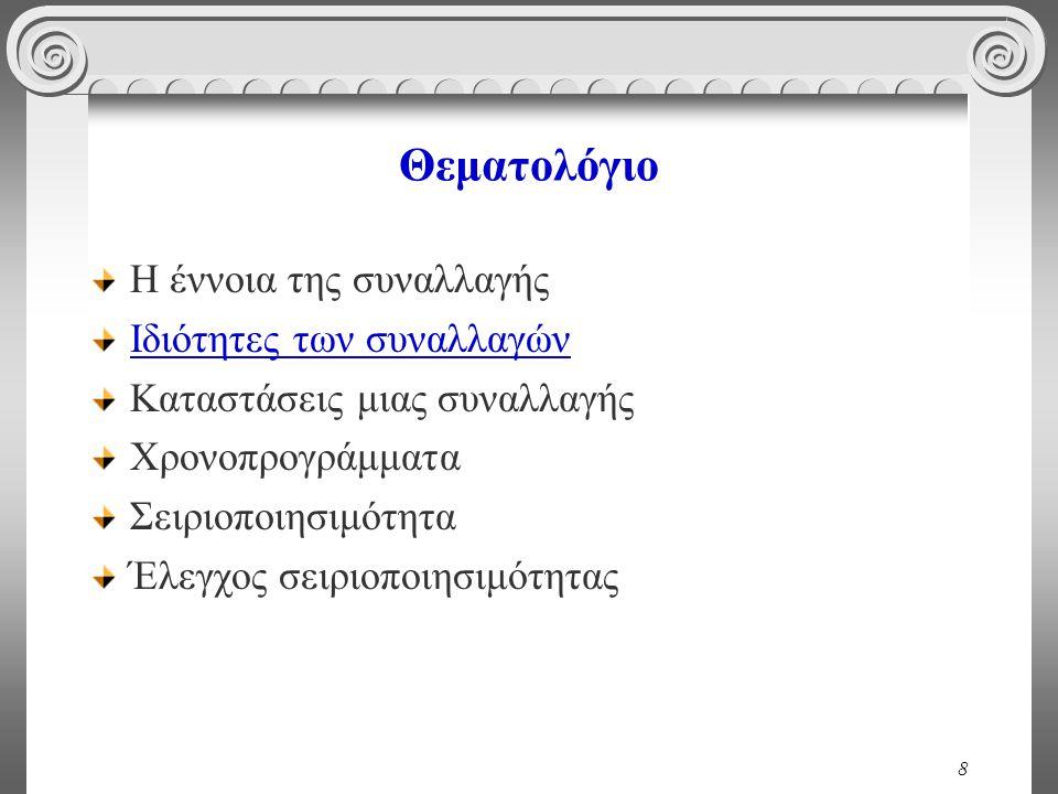 59 Ασυνεπής Ανάγνωση (Dirty Read) T 1 read(A); A := A - 50; write(A); read(B); B := B + 50; write(B).