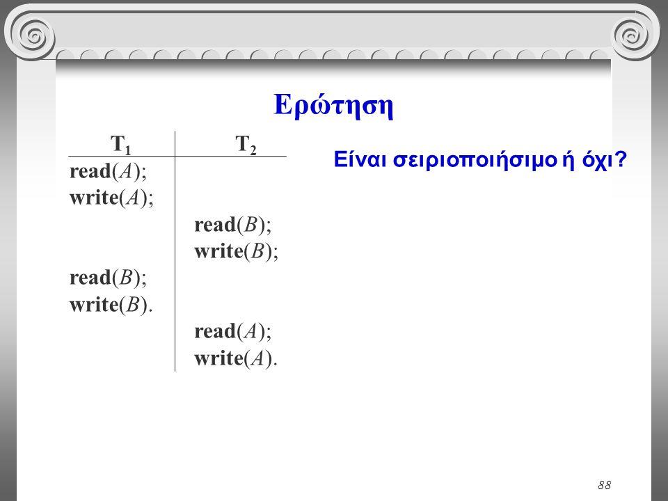 88 Ερώτηση T 1 read(A); write(A); read(B); write(B). T 2 read(B); write(B); read(A); write(A). Είναι σειριοποιήσιμο ή όχι?