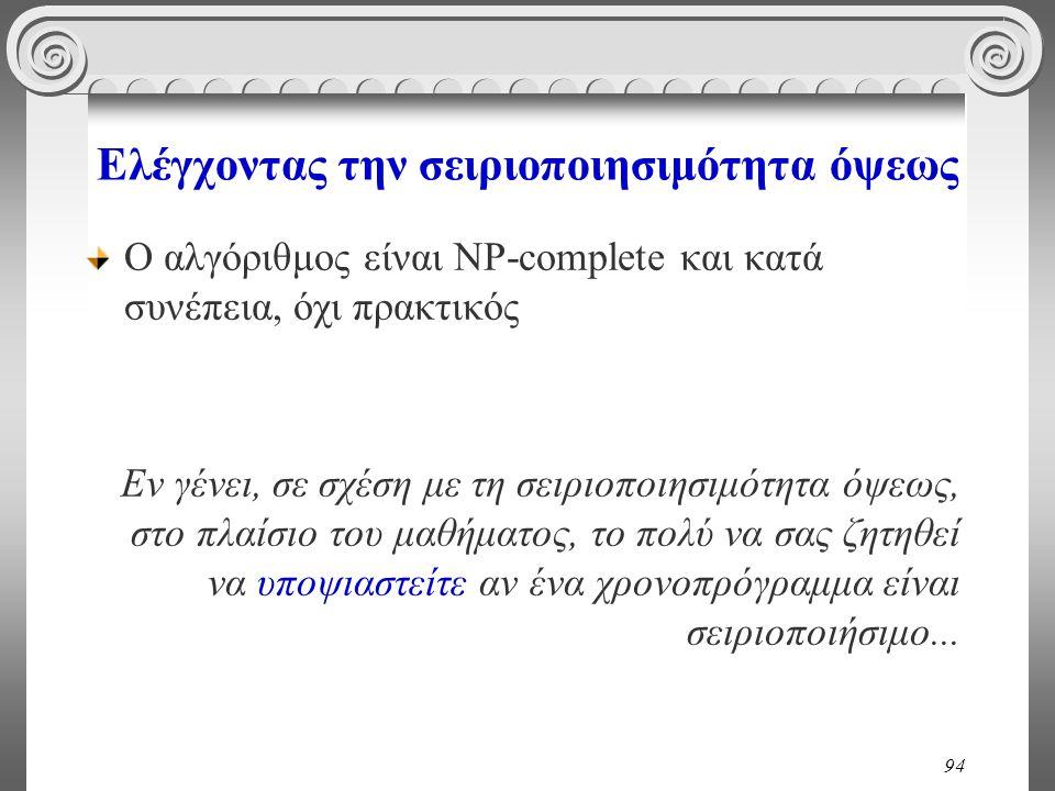 94 Ελέγχοντας την σειριοποιησιμότητα όψεως Ο αλγόριθμος είναι NP-complete και κατά συνέπεια, όχι πρακτικός Εν γένει, σε σχέση με τη σειριοποιησιμότητα