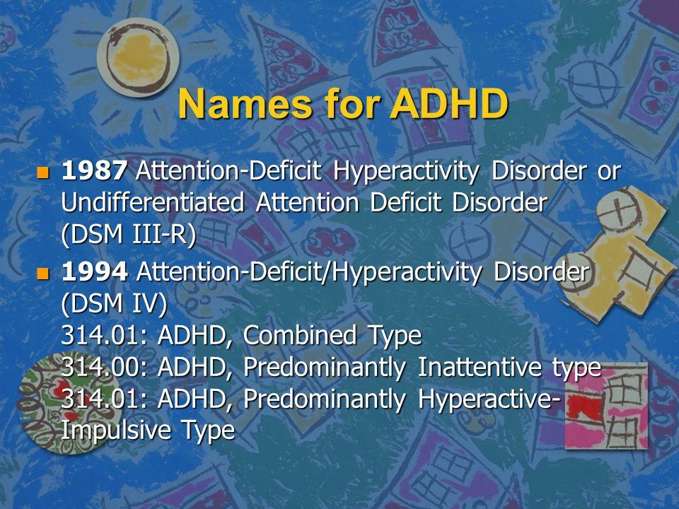 ADHD Characteristics InattentionImpulsivityOveractivity