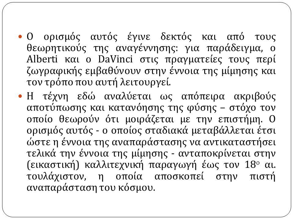 Ο ορισμός αυτός έγινε δεκτός και από τους θεωρητικούς της αναγέννησης : για παράδειγμα, ο Alberti και ο DaVinci στις πραγματείες τους περί ζωγραφικής