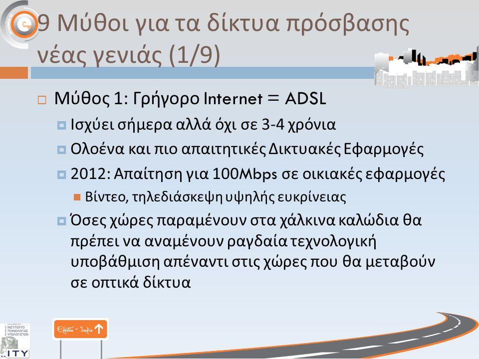 9 Μύθοι για τα δίκτυα πρόσβασης νέας γενιάς (1/9)  Μύθος 1: Γρήγορο Internet = ADSL  Ισχύει σήμερα αλλά όχι σε 3-4 χρόνια  Ολοένα και πιο απαιτητικές Δικτυακές Εφαρμογές  2012: Απαίτηση για 100Mbps σε οικιακές εφαρμογές Βίντεο, τηλεδιάσκεψη υψηλής ευκρίνειας  Όσες χώρες παραμένουν στα χάλκινα καλώδια θα πρέπει να αναμένουν ραγδαία τεχνολογική υποβάθμιση απέναντι στις χώρες που θα μεταβούν σε οπτικά δίκτυα