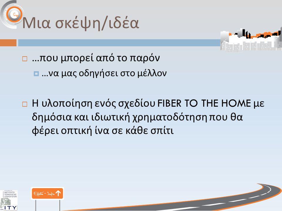 Μια σκέψη/ιδέα  … που μπορεί από το παρόν  … να μας οδηγήσει στο μέλλον  Η υλοποίηση ενός σχεδίου FIBER TO THE HOME με δημόσια και ιδιωτική χρηματο