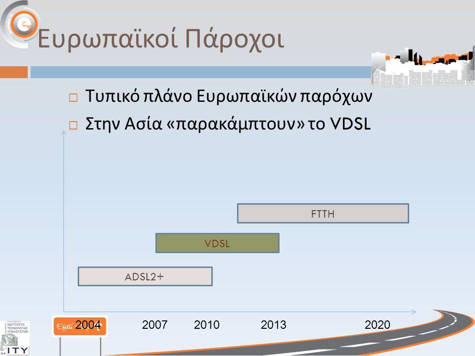 Ευρωπαϊκοί Πάροχοι  Τυπικό πλάνο Ευρωπαϊκών παρόχων  Στην Ασία « παρακάμπτουν » το VDSL ADSL2+ VDSL FTTH 20042007201020132020