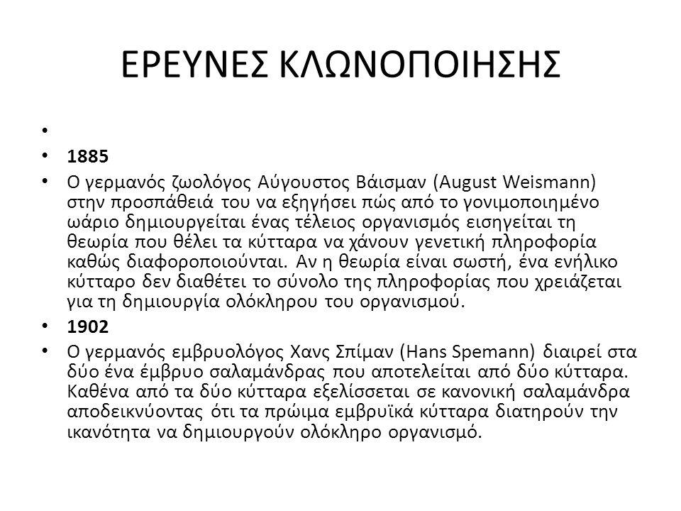 ΘΕΤΙΚΑ ΤΗΣ ΚΛΩΝΟΠΟΙΗΣΗΣ 1.