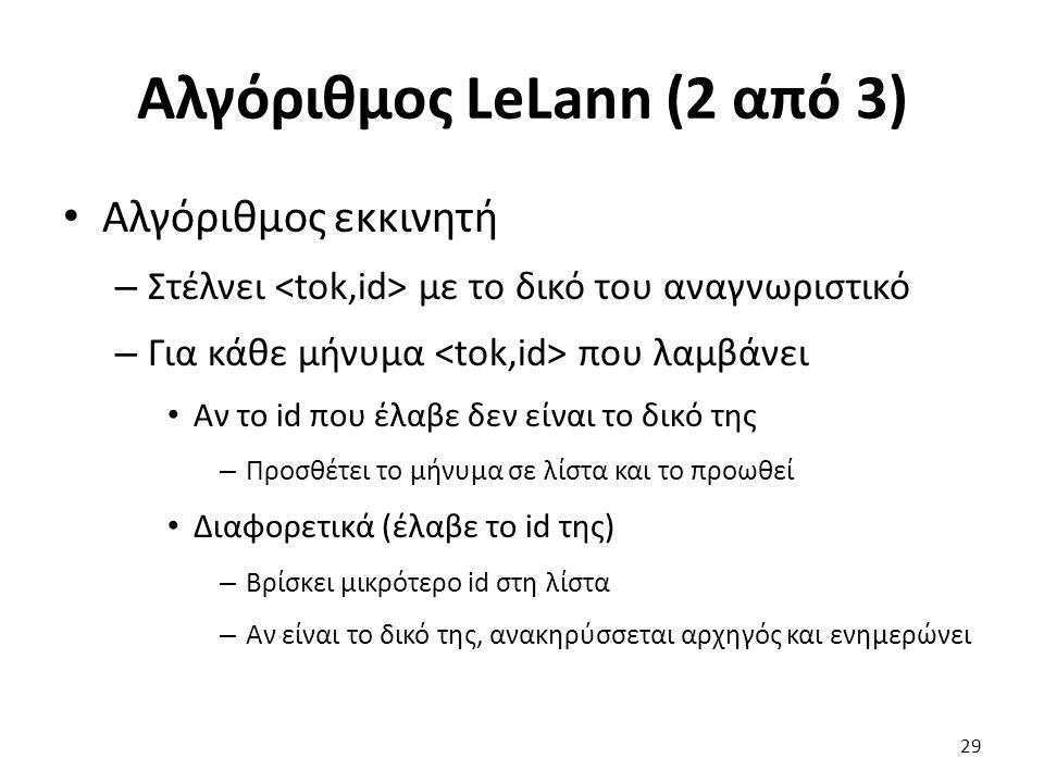 Αλγόριθμος LeLann (2 από 3) Αλγόριθμος εκκινητή – Στέλνει με το δικό του αναγνωριστικό – Για κάθε μήνυμα που λαμβάνει Αν το id που έλαβε δεν είναι το δικό της – Προσθέτει το μήνυμα σε λίστα και το προωθεί Διαφορετικά (έλαβε το id της) – Βρίσκει μικρότερο id στη λίστα – Αν είναι το δικό της, ανακηρύσσεται αρχηγός και ενημερώνει 29