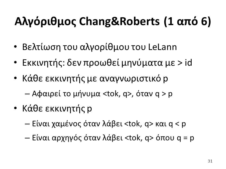Αλγόριθμος Chang&Roberts (1 από 6) Βελτίωση του αλγορίθμου του LeLann Εκκινητής: δεν προωθεί μηνύματα με > id Κάθε εκκινητής με αναγνωριστικό p – Αφαιρεί το μήνυμα, όταν q > p Κάθε εκκινητής p – Είναι χαμένος όταν λάβει και q < p – Είναι αρχηγός όταν λάβει όπου q = p 31