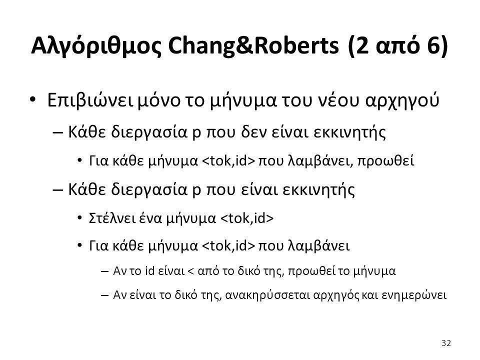 Αλγόριθμος Chang&Roberts (2 από 6) Επιβιώνει μόνο το μήνυμα του νέου αρχηγού – Κάθε διεργασία p που δεν είναι εκκινητής Για κάθε μήνυμα που λαμβάνει, προωθεί – Κάθε διεργασία p που είναι εκκινητής Στέλνει ένα μήνυμα Για κάθε μήνυμα που λαμβάνει – Αν το id είναι < από το δικό της, προωθεί το μήνυμα – Αν είναι το δικό της, ανακηρύσσεται αρχηγός και ενημερώνει 32