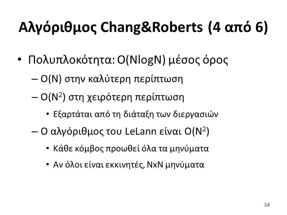 Αλγόριθμος Chang&Roberts (4 από 6) Πολυπλοκότητα: O(NlogN) μέσος όρος – O(N) στην καλύτερη περίπτωση – O(N 2 ) στη χειρότερη περίπτωση Εξαρτάται από τη διάταξη των διεργασιών – Ο αλγόριθμος του LeLann είναι O(N 2 ) Κάθε κόμβος προωθεί όλα τα μηνύματα Αν όλοι είναι εκκινητές, NxN μηνύματα 34