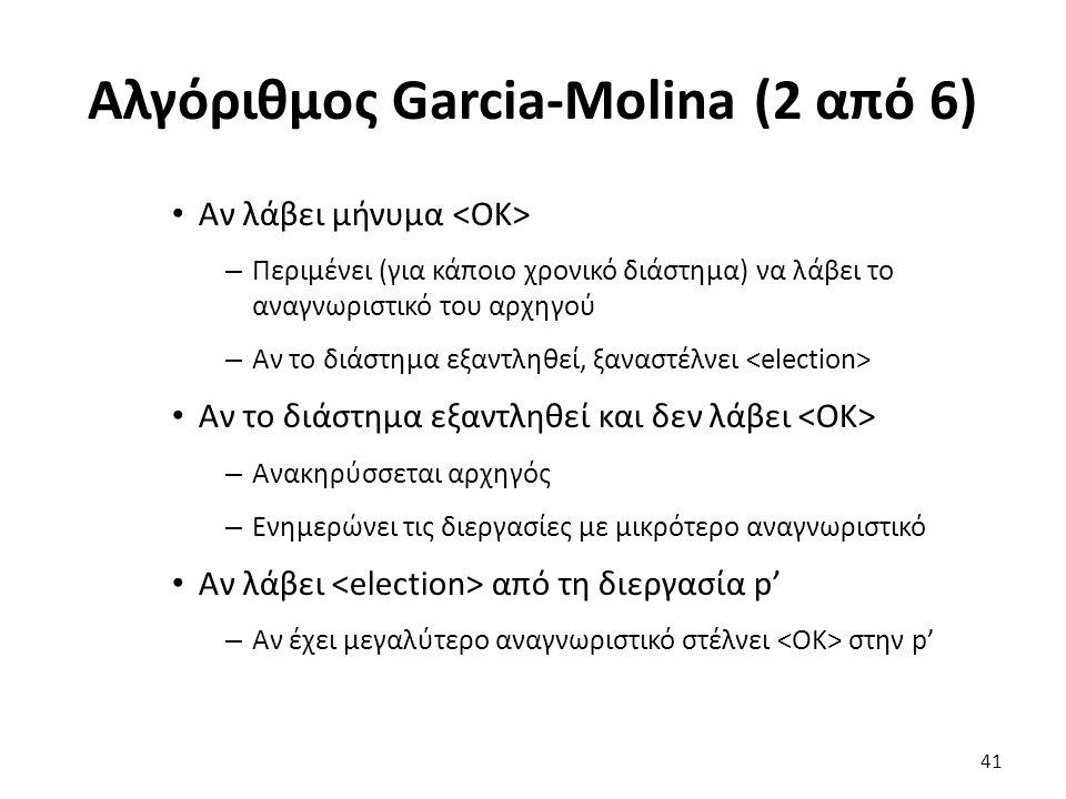 Αλγόριθμος Garcia-Molina (2 από 6) Αν λάβει μήνυμα – Περιμένει (για κάποιο χρονικό διάστημα) να λάβει το αναγνωριστικό του αρχηγού – Αν το διάστημα εξαντληθεί, ξαναστέλνει Αν το διάστημα εξαντληθεί και δεν λάβει – Ανακηρύσσεται αρχηγός – Ενημερώνει τις διεργασίες με μικρότερο αναγνωριστικό Αν λάβει από τη διεργασία p' – Αν έχει μεγαλύτερο αναγνωριστικό στέλνει στην p' 41