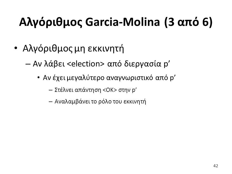 Αλγόριθμος Garcia-Molina (3 από 6) Αλγόριθμος μη εκκινητή – Αν λάβει από διεργασία p' Αν έχει μεγαλύτερο αναγνωριστικό από p' – Στέλνει απάντηση στην p' – Αναλαμβάνει το ρόλο του εκκινητή 42
