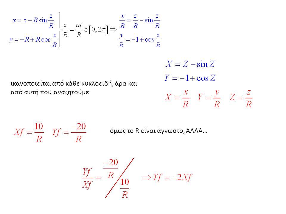 ικανοποιείται από κάθε κυκλοειδή, άρα και από αυτή που αναζητούμε όμως το R είναι άγνωστο, ΑΛΛΑ…