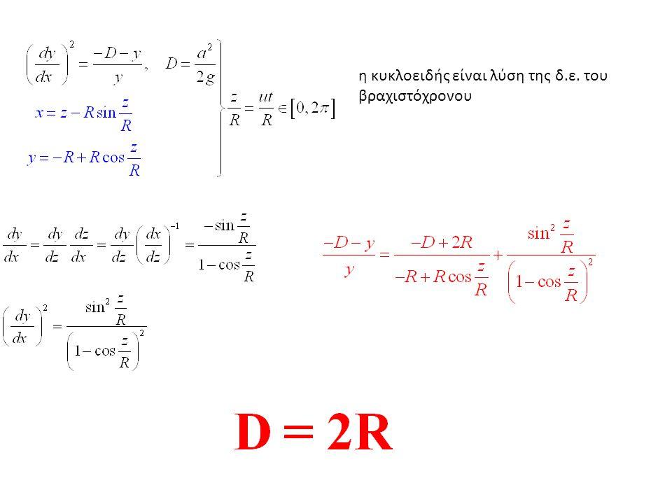 η κυκλοειδής είναι λύση της δ.ε. του βραχιστόχρονου