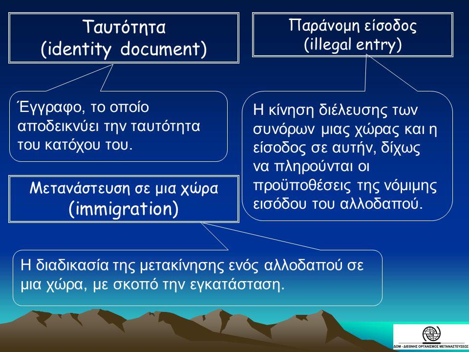 Έγγραφο, το οποίο αποδεικνύει την ταυτότητα του κατόχου του. Η κίνηση διέλευσης των συνόρων μιας χώρας και η είσοδος σε αυτήν, δίχως να πληρούνται οι