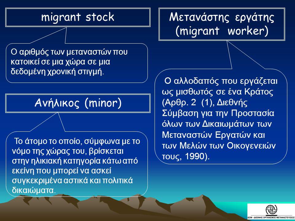 Ο αριθμός των μεταναστών που κατοικεί σε μια χώρα σε μια δεδομένη χρονική στιγμή. Ο αλλοδαπός που εργάζεται ως μισθωτός σε ένα Κράτος (Αρθρ. 2 (1), Δι