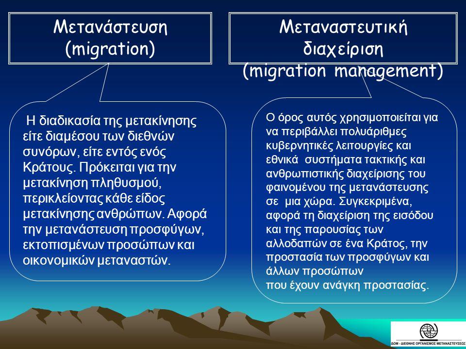 Η διαδικασία της μετακίνησης είτε διαμέσου των διεθνών συνόρων, είτε εντός ενός Κράτους. Πρόκειται για την μετακίνηση πληθυσμού, περικλείοντας κάθε εί