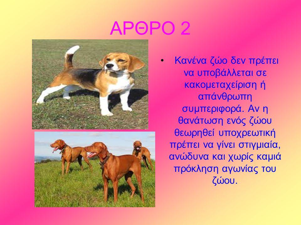 ΑΡΘΡΟ 2 Κανένα ζώο δεν πρέπει να υποβάλλεται σε κακομεταχείριση ή απάνθρωπη συμπεριφορά.