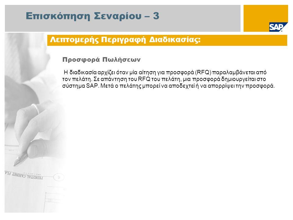 Επισκόπηση Σεναρίου – 3 Προσφορά Πωλήσεων Η διαδικασία αρχίζει όταν μία αίτηση για προσφορά (RFQ) παραλαμβάνεται από τον πελάτη. Σε απάντηση του RFQ τ