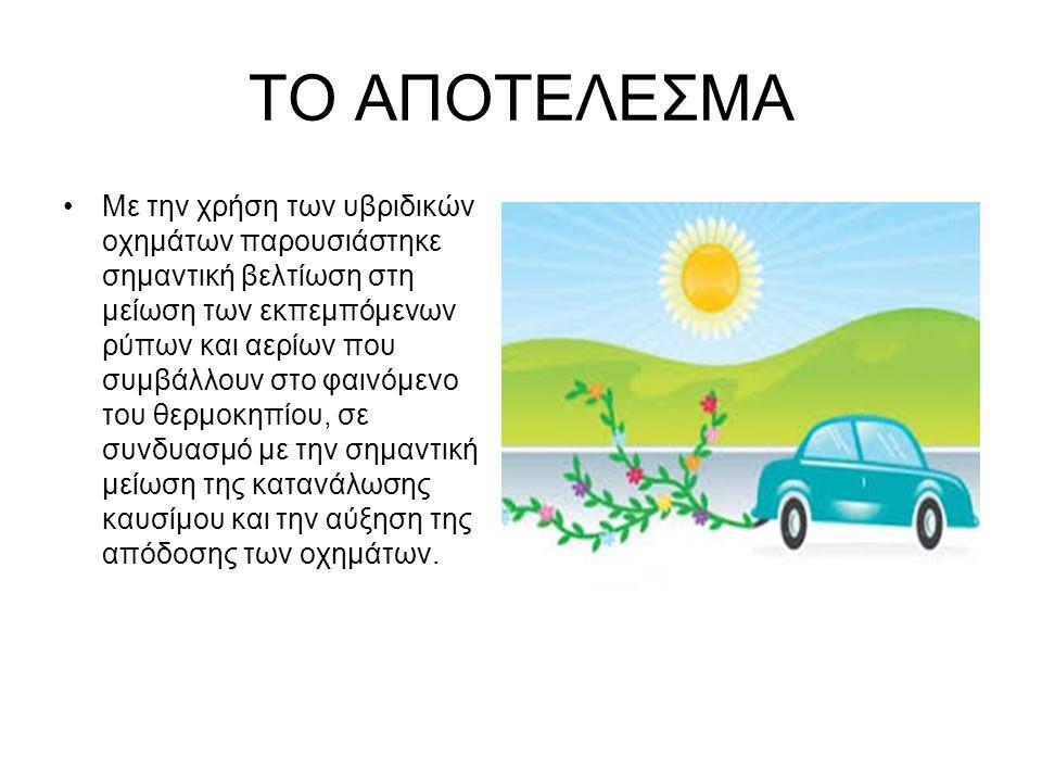 ΤΟ ΑΠΟΤΕΛΕΣΜΑ Με την χρήση των υβριδικών οχημάτων παρουσιάστηκε σημαντική βελτίωση στη μείωση των εκπεμπόμενων ρύπων και αερίων που συμβάλλουν στο φαι