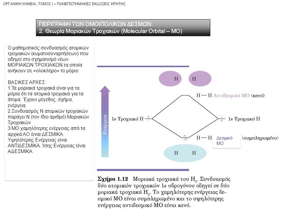 OPΓANIKH XHMEIA, TOMOΣ I – ΠANEΠIΣTHMIAKEΣ EKΔOΣEIΣ KPHTHΣ ΠΕΡΙΓΡΑΦΗ ΤΩΝ ΟΜΟΙΠΟΛΙΚΩΝ ΔΕΣΜΩΝ: 2. Θεωρία Μοριακών Τροχιακών (Molecular Orbital – MO) ΠΕΡ
