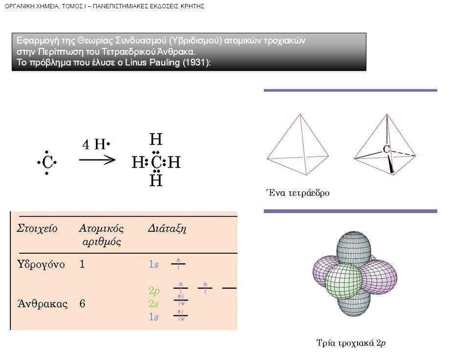 OPΓANIKH XHMEIA, TOMOΣ I – ΠANEΠIΣTHMIAKEΣ EKΔOΣEIΣ KPHTHΣ Εφαρμογή της Θεωρίας Συνδυασμού (Υβριδισμού) ατομικών τροχιακών στην Περίπτωση του Τετραεδρικού Άνθρακα.