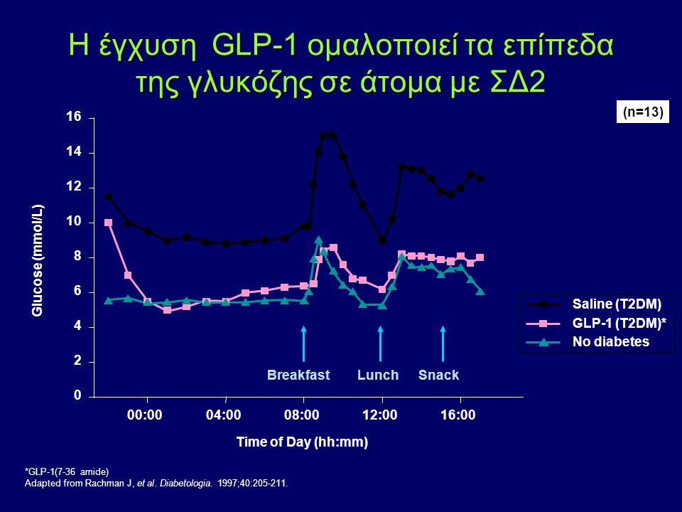 *GLP-1(7-36 amide) Adapted from Rachman J, et al. Diabetologia. 1997;40:205-211. 0 2 4 6 8 10 12 14 16 00:0004:0008:0012:0016:00 SnackLunchBreakfast G