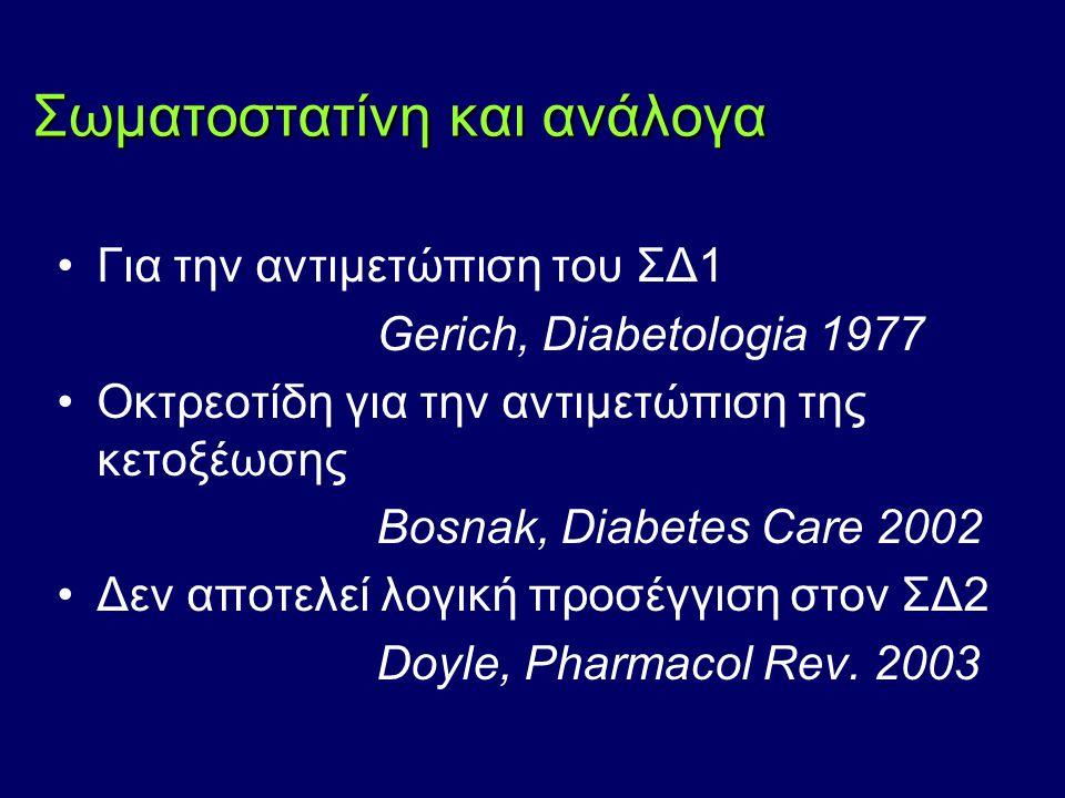 Σωματοστατίνη και ανάλογα Για την αντιμετώπιση του ΣΔ1 Gerich, Diabetologia 1977 Οκτρεοτίδη για την αντιμετώπιση της κετοξέωσης Bosnak, Diabetes Care