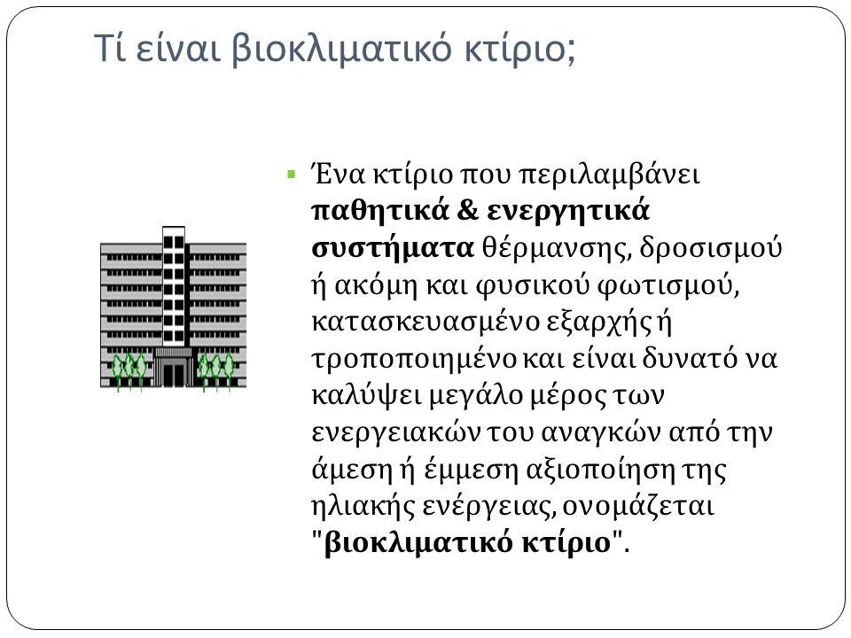 Τί είναι βιοκλιματικό κτίριο ;  Ένα κτίριο που περιλαμβάνει παθητικά & ενεργητικά συστήματα θέρμανσης, δροσισμού ή ακόμη και φυσικού φωτισμού, κατασκευασμένο εξαρχής ή τροποποιημένο και είναι δυνατό να καλύψει μεγάλο μέρος των ενεργειακών του αναγκών από την άμεση ή έμμεση αξιοποίηση της ηλιακής ενέργειας, ονομάζεται βιοκλιματικό κτίριο .