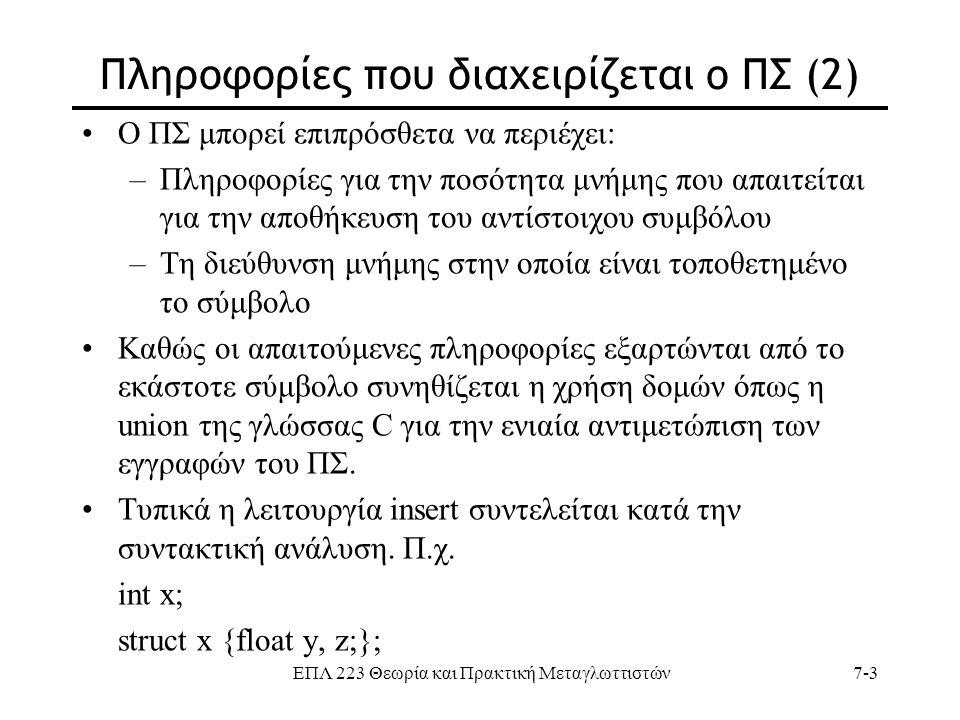 ΕΠΛ 223 Θεωρία και Πρακτική Μεταγλωττιστών7-3 Πληροφορίες που διαχειρίζεται ο ΠΣ (2) Ο ΠΣ μπορεί επιπρόσθετα να περιέχει: –Πληροφορίες για την ποσότητ