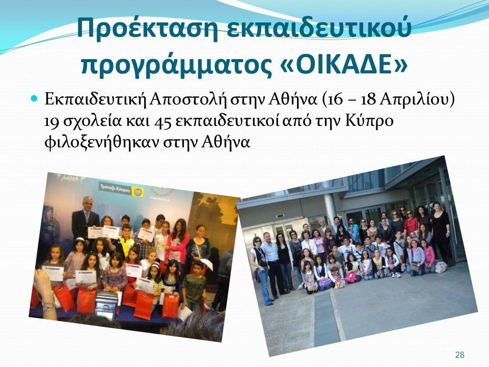 Προέκταση εκπαιδευτικού προγράμματος «ΟΙΚΑΔΕ» Εκπαιδευτική Αποστολή στην Αθήνα (16 – 18 Απριλίου) 19 σχολεία και 45 εκπαιδευτικοί από την Κύπρο φιλοξενήθηκαν στην Αθήνα 28
