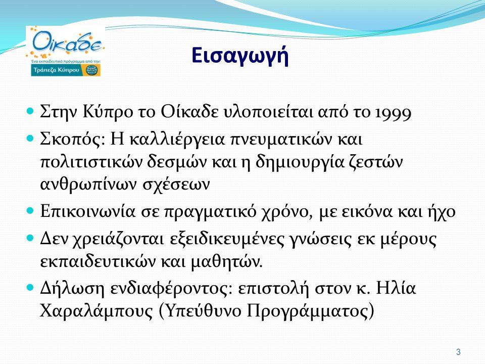 Εισαγωγή Στην Κύπρο το Οίκαδε υλοποιείται από το 1999 Σκοπός: Η καλλιέργεια πνευματικών και πολιτιστικών δεσμών και η δημιουργία ζεστών ανθρωπίνων σχέσεων Επικοινωνία σε πραγματικό χρόνο, με εικόνα και ήχο Δεν χρειάζονται εξειδικευμένες γνώσεις εκ μέρους εκπαιδευτικών και μαθητών.