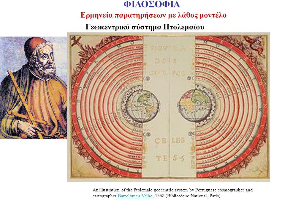 Ερμηνεία παρατηρήσεων με λάθος μοντέλο Γεωκεντρικό σύστημα Πτολεμαίου An illustration of the Ptolemaic geocentric system by Portuguese cosmographer an