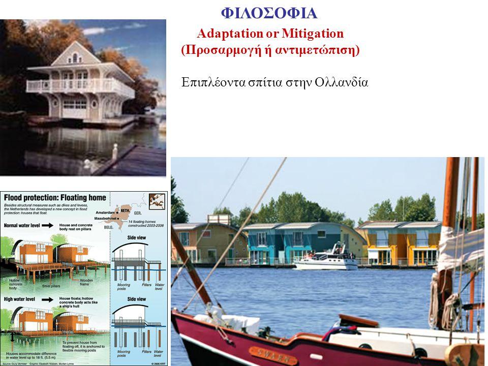 Adaptation or Mitigation (Προσαρμογή ή αντιμετώπιση) ΦΙΛΟΣΟΦΙΑ Επιπλέοντα σπίτια στην Ολλανδία