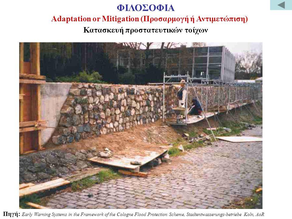 Κατασκευή προστατευτικών τοίχων Πηγή: Early Warning Systems in the Framework of the Cologne Flood Protection Scheme, Stadtentwasserungs-betriebe Koln, AoR Adaptation or Mitigation (Προσαρμογή ή Αντιμετώπιση) ΦΙΛΟΣΟΦΙΑ