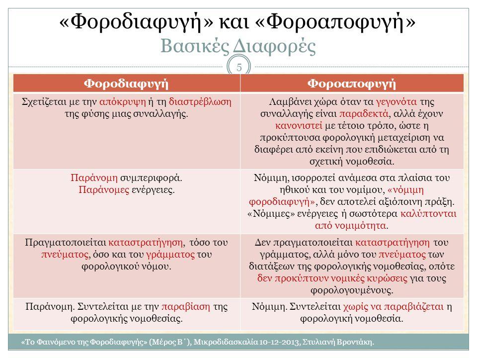 «Φοροδιαφυγή» και «Φοροαποφυγή» Βασικές Διαφορές ΦοροδιαφυγήΦοροαποφυγή Σχετίζεται με την απόκρυψη ή τη διαστρέβλωση της φύσης μιας συναλλαγής. Λαμβάν