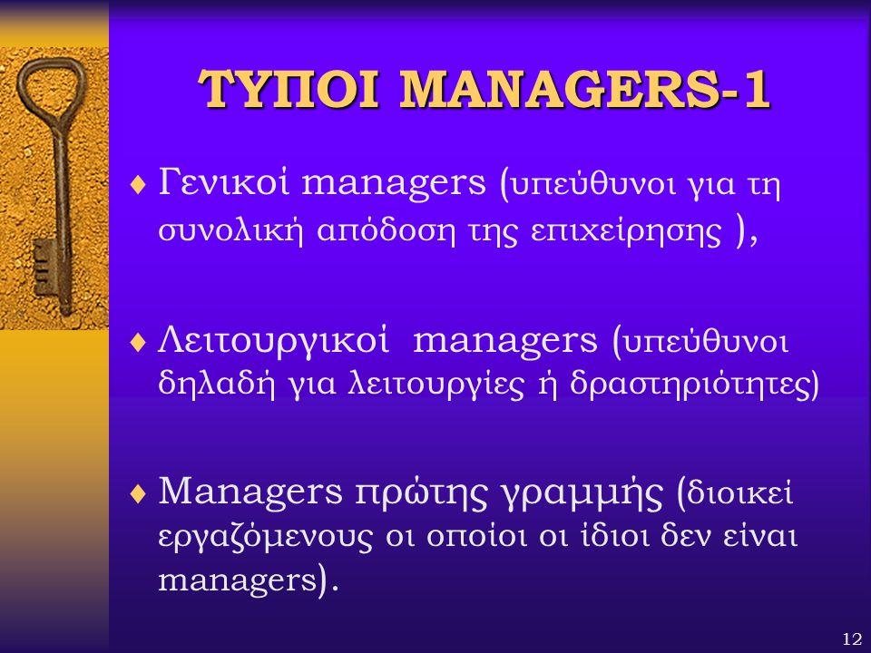 12 ΤΥΠΟΙMANAGERS-1 ΤΥΠΟΙ MANAGERS-1  Γενικοί managers ( υπεύθυνοι για τη συνολική απόδοση της επιχείρησης ),  Λειτουργικοί managers ( υπεύθυνοι δηλα