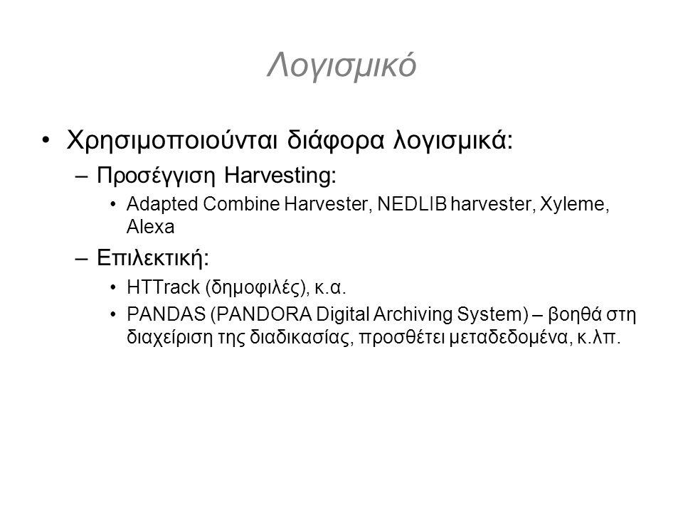 Λογισμικό Χρησιμοποιούνται διάφορα λογισμικά: –Προσέγγιση Harvesting: Adapted Combine Harvester, NEDLIB harvester, Xyleme, Alexa –Επιλεκτική: HTTrack (δημοφιλές), κ.α.