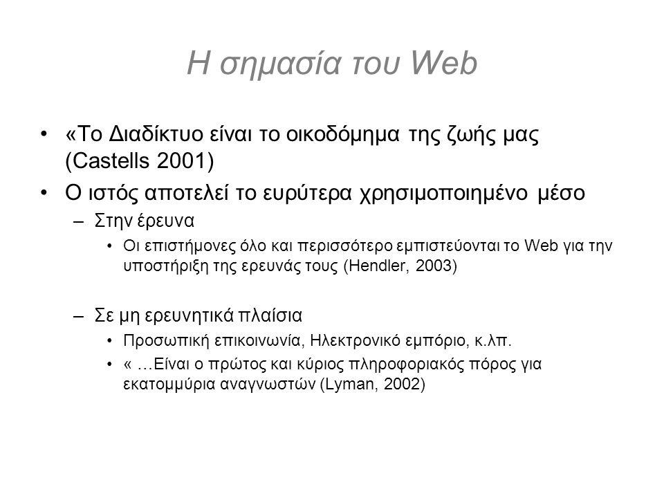 Η σημασία του Web «Το Διαδίκτυο είναι το οικοδόμημα της ζωής μας (Castells 2001) Ο ιστός αποτελεί το ευρύτερα χρησιμοποιημένο μέσο –Στην έρευνα Οι επιστήμονες όλο και περισσότερο εμπιστεύονται το Web για την υποστήριξη της ερευνάς τους (Hendler, 2003) –Σε μη ερευνητικά πλαίσια Προσωπική επικοινωνία, Ηλεκτρονικό εμπόριο, κ.λπ.